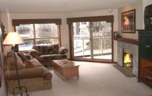 living room Whistler condo rental